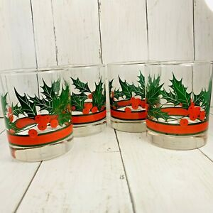 Set Of 4 Vintage Libby Holly Berry Christmas  Drinking Glasses 4 In Tumblers