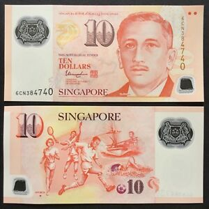 2018 SINGAPORE 10 DOLLARS POLYMER P-NEW UNC> > >W/1 INVERTED TRIANGLE THARMAN NR