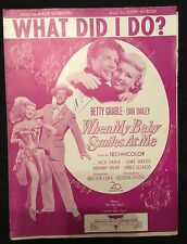 Vintage sheet music - What Did I Do? - 1948 Betty Grable Dan Dailey
