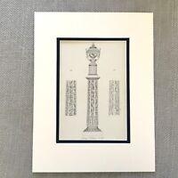 1900 Antico Stampa Storico Antico Greco Colonna Neoclassico Vaso