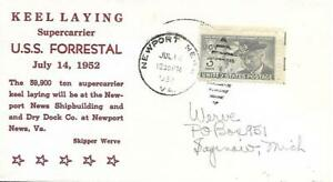FORRESTAL (AVT-59) 14 July 1952 PM Newport News VA Werve Cachet