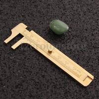 Mini Sliding Brass Gauge Vernier 70mm Bead Wire Jewelry Measuring Pocket Caliper