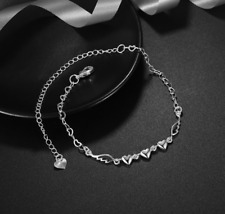 Triple Heart Angel Wing 925 Silver Plated Anklet Foot Chain Crystals Bracelet