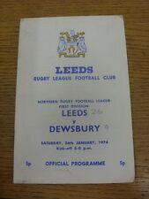 26/01/1974 programma Rugby League: Leeds V Dewsbury (piegato, punteggio sulla parte anteriore & I
