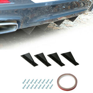 4pcs Universal Black Rear Bumper Lip Diffuser Shark Fin Style Car Back Spoiler