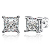 STUD EARRINGS 925 STERLING SILVER FILLED DIAMOND SIMULATED ITALIAN DESIGN
