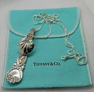 Antique 1898 Sterling Silver TIFFANY & CO Saint James Spoon Necklace & pouch