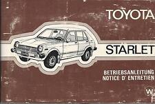 TOYOTA Starlet P6 Betriebsanleitung 1978 Bedienungsanleitung Handbuch  BA