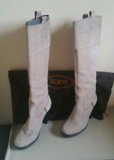stivali tod's donna beige ghiaccio 38 stivaletti tronchetti scarpe tacco tods