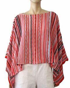 MISSONI Striped Crochet Knit Cotton Boat Neck Poncho One Size