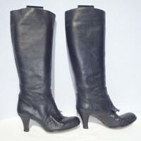 Hobbs Leather Boots Size UK 4 Eur 37 Womens Ladies Black Sexy Pull on Boots