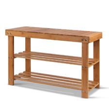 Artiss BAM-B-SR14-NT 3 Tier Shoe Rack Wooden Storage Shelf Stand Bench Cabinet