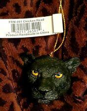 2004 Slavic Treasures Black Jaguar W Shiny Eyes Hanging Resin Ornament Head