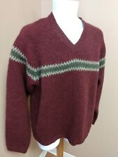 ABERCROMBIE & FITCH Sweater Men's L 100% WOOL V-Neck Burgundy Gray-Green Stripe