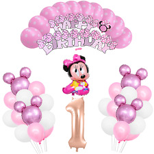 1st Birthday Pink Minnie Mouse Girls Birthday Balloon Party Decoration Supplies
