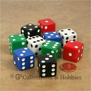 NEW 10 Multicolored 19mm 3/4 inch D6 Six Sided RPG Bunco Game Dice Set 5 Colors