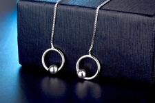 925 Sterling Silver PL Circle Loop +Ball Long Drop/Dangle Threader Earrings Gift