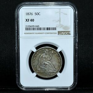 1876-P SEATED LIBERTY HALF DOLLAR ✪ NGC XF-40 ✪ 50C SILVER EXTRA FINE ◢TRUSTED◣
