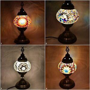 Traditional Handmade Turkish Colorful Lamp Light Glass Decor Mosaic Desk Table