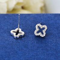 925 Sterling Silver Cross 4 Leaf Lucky Clover Crystal Flower Stud Earrings Gift