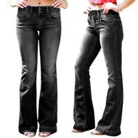 Womens Bootcut Jeans Stretch Denim Long Pants Ladies Low Waist Flared Trouser US