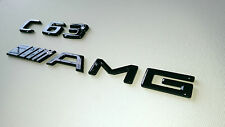 C63 AMG & AMG CUSTOM GLOSS BLACK REAR BOOT / TRUNK BADGE SET MERCEDES BENZ C63