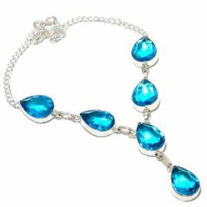 "Swiss Blue Topaz Gemstone Ethnic 925 Sterling Silver Jewelry Necklace 18"""