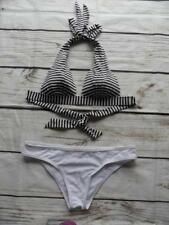Oasis/South Beach/Navy/Ivory/White Triangle Halterneck Bikini Set UK Sz 10   K40