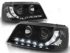 VW T5 Headlights Black DRL LED Audi Style 2003-2010 Part Number PHL9046