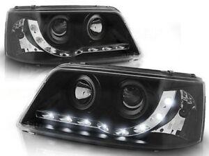 VW Transporter T5 Headlights Black DRL LED Audi Style 2003-2010
