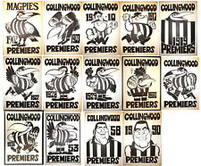 1902 - 1990 Collingwood Magpies Weg Posters X 14 Premiership Poster Grand Final