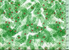 1/2 yard Christmas FLANNEL Tree Branches with Red Holly Berries Green White BTHY