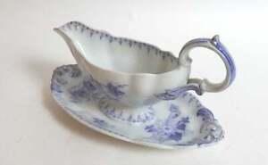 Antique French Porcelain Sauce Boat in Lavender