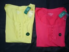 NEW  LL BEAN  Women's Henley Ruffled Shirt YELLOW OR CORAL PINK SIZE S SMALL