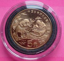 """La Chine 1993 """"rouge"""" cuivre PANDA 5 yuans coin"""
