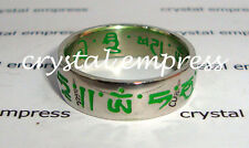 FENG SHUI - SIZE 11 GREEN SACRED MANTRA RING (STAINLESS STEEL)