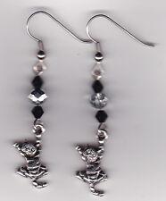 CAT  Kitten Shaped Earrings - Tibetan Silver Charms w/Swarovski Beads