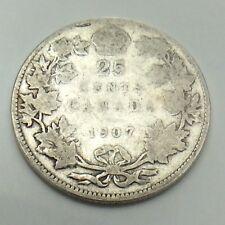 1907 Canada LC 25 Twenty Five Cents Quarter King Edward VII Canadian Coin G126