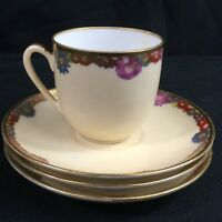 Vintage 1 Demitasse Cup and 3 Saucers Multi Floral Gold Trim Made in JAPAN