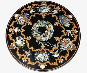 """Black Marble Dining Table Top Mosaic Art Patio Sofa Table from Heritage Art 60"""""""