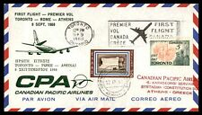 CANADA TORONTO FIRST FLIGHT CPA  SEPTEMBER 9 1968  TO ATHENS GREECE ARRIVAL