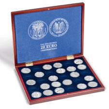 LEUCHTTURM Münzkassette VOLTERRA 30 20 Euro Münzen Kapseln 32,5mm Holzkassette €