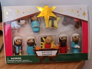 New Boxed Paperchase Christmas Nativity Eraser Set