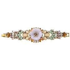 Bracelet Fine Gold Chain Large Floral White Multicolored Amber Green Retro CT2