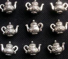 8 théière charms silver tone métal alice au pays des merveilles 15mm