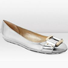 JIMMY CHOO Morse Patent Leather Silver Gold Logo Buckle Ballet Flat Shoe 41 11