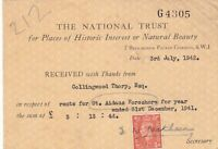 The National Trust 1942 Rent for St. Aidans Foreshore Stamp Receipt Ref 39031