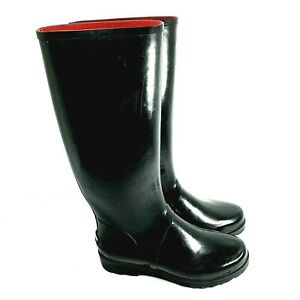 Ralph Lauren Women's Polo Sport Tall Rubber Rain Boots Black Size 7B 512677