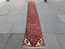 Old Traditional Hand Made Persian Oriental Red Wool Long Narrow Runner 400x55cm