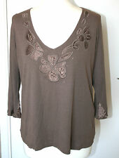 Per Una UK18 EU46 brown cotton/viscose-blend top with embellished neckline